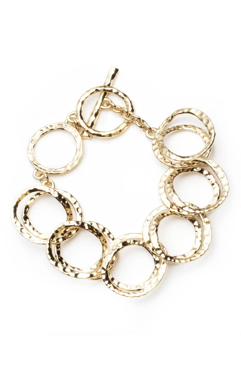 ALEXIS BITTAR Hammered Coil Link Bracelet, Main, color, GOLD