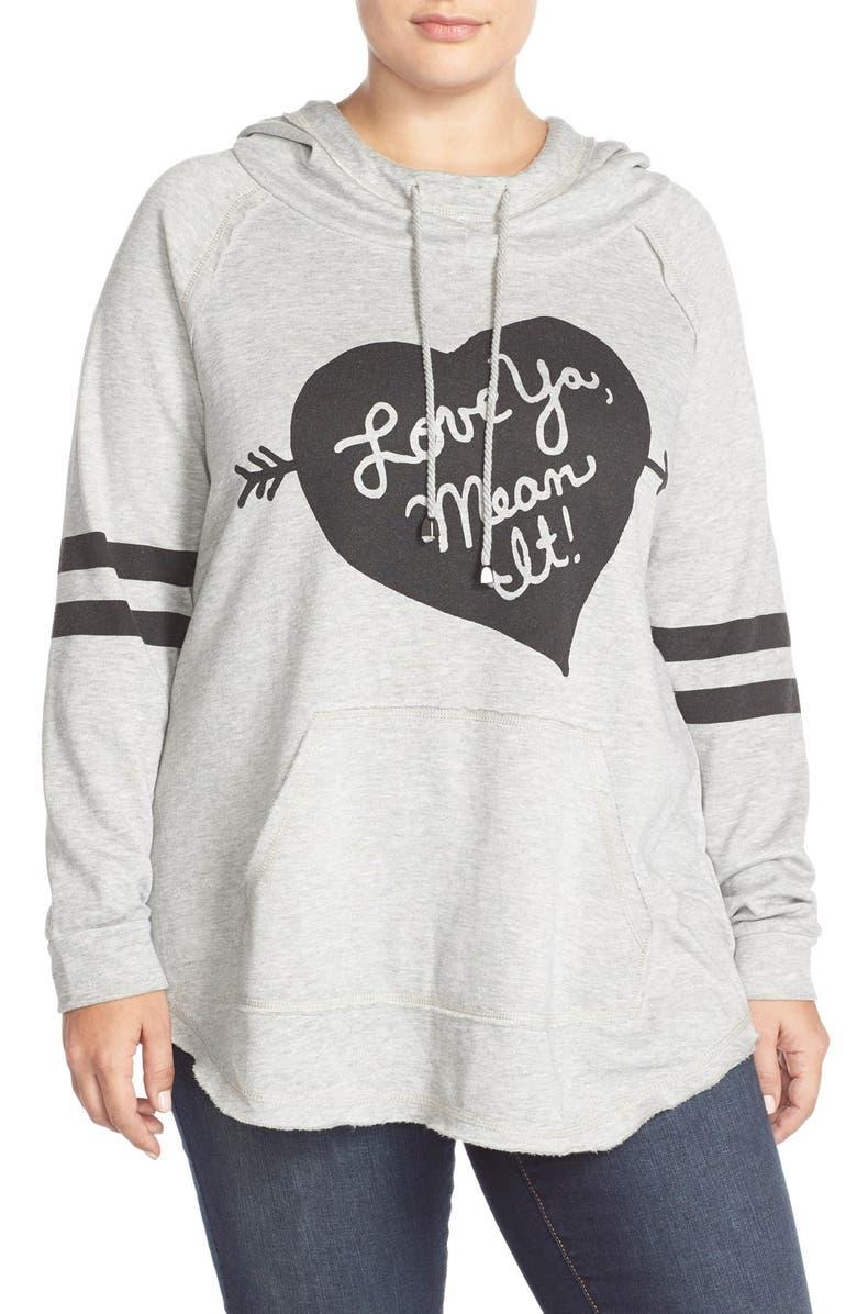 MELISSA MCCARTHY SEVEN7 'Love Ya, Mean It' Hooded Sweatshirt, Main, color, 052