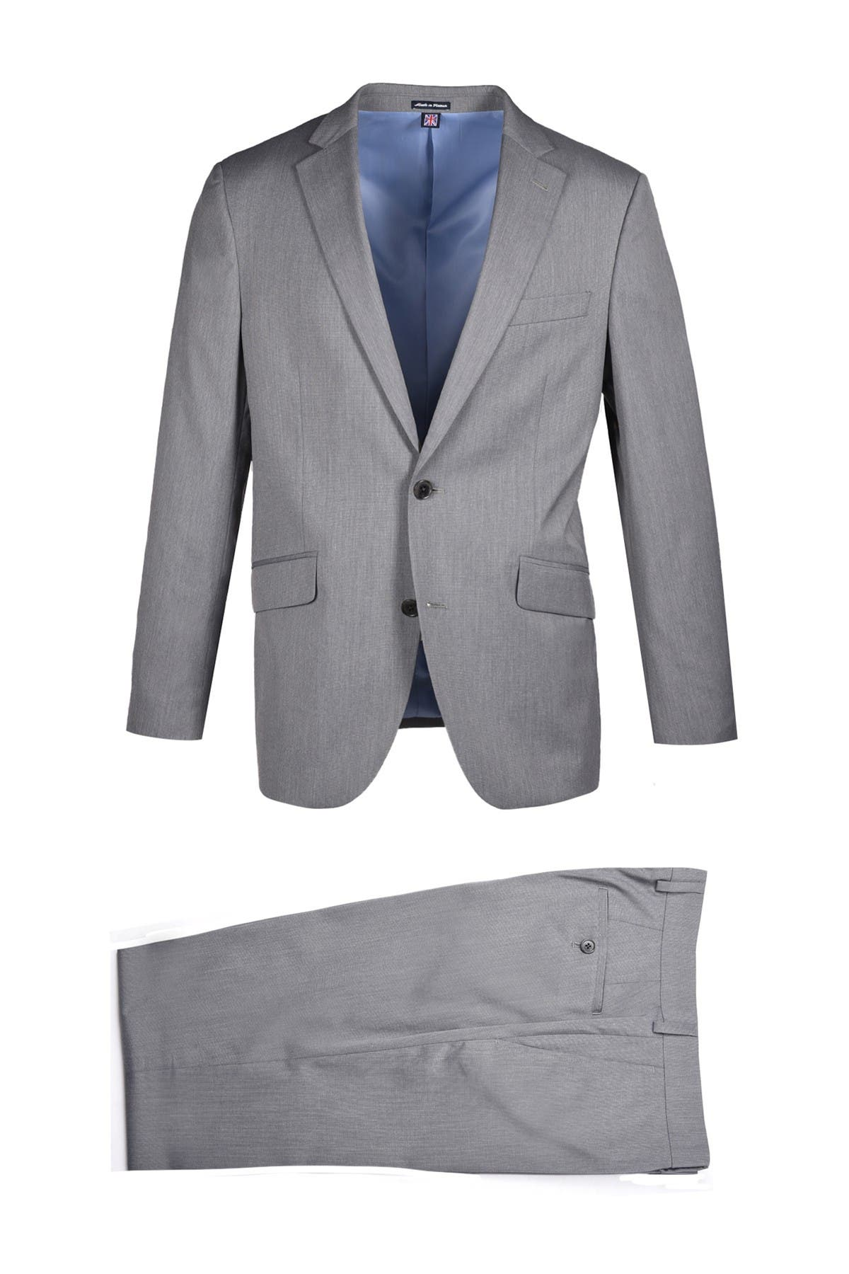 Image of SAVILE ROW CO Mid Grey Notch Lapel Slim Fit Stretch Fabric Suit