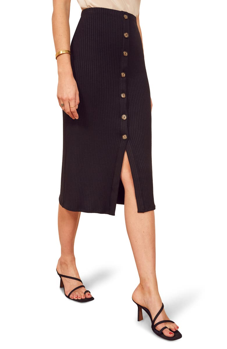 REFORMATION Rosie Ribbed Midi Skirt, Main, color, 001