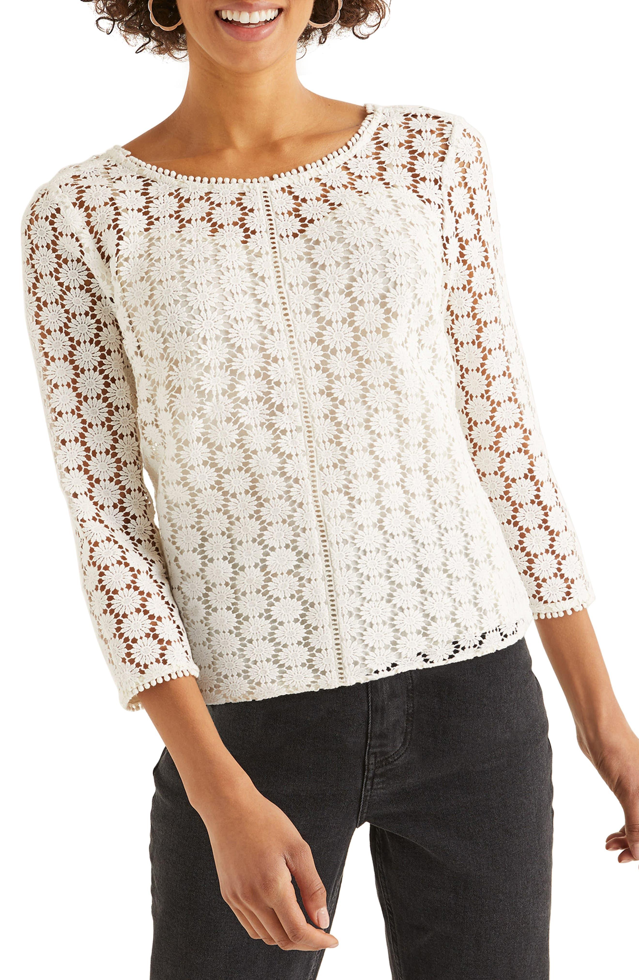 60s Shirts, T-shirt, Blouses, Hippie Shirts Womens Boden Arabella Lace Top Size 4 - Ivory $65.00 AT vintagedancer.com