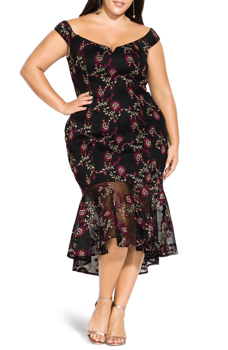 CITY CHIC Embroidered Mermaid Dress, Main, color, BLACK