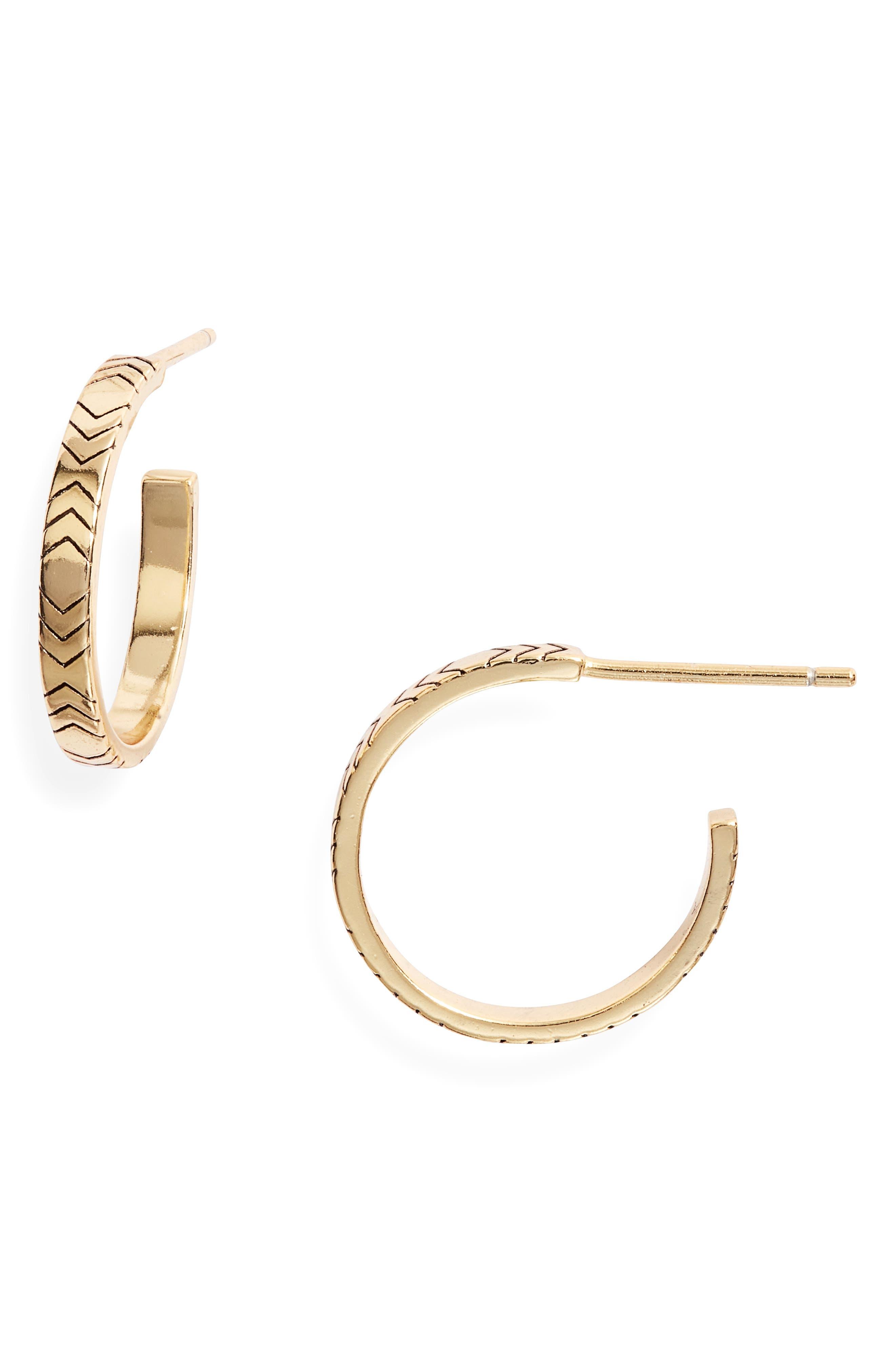 Chevron Etched Hoop Earrings