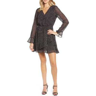 Cupcakes And Cashmere Amity Speckled Leopard Print Dress, Black