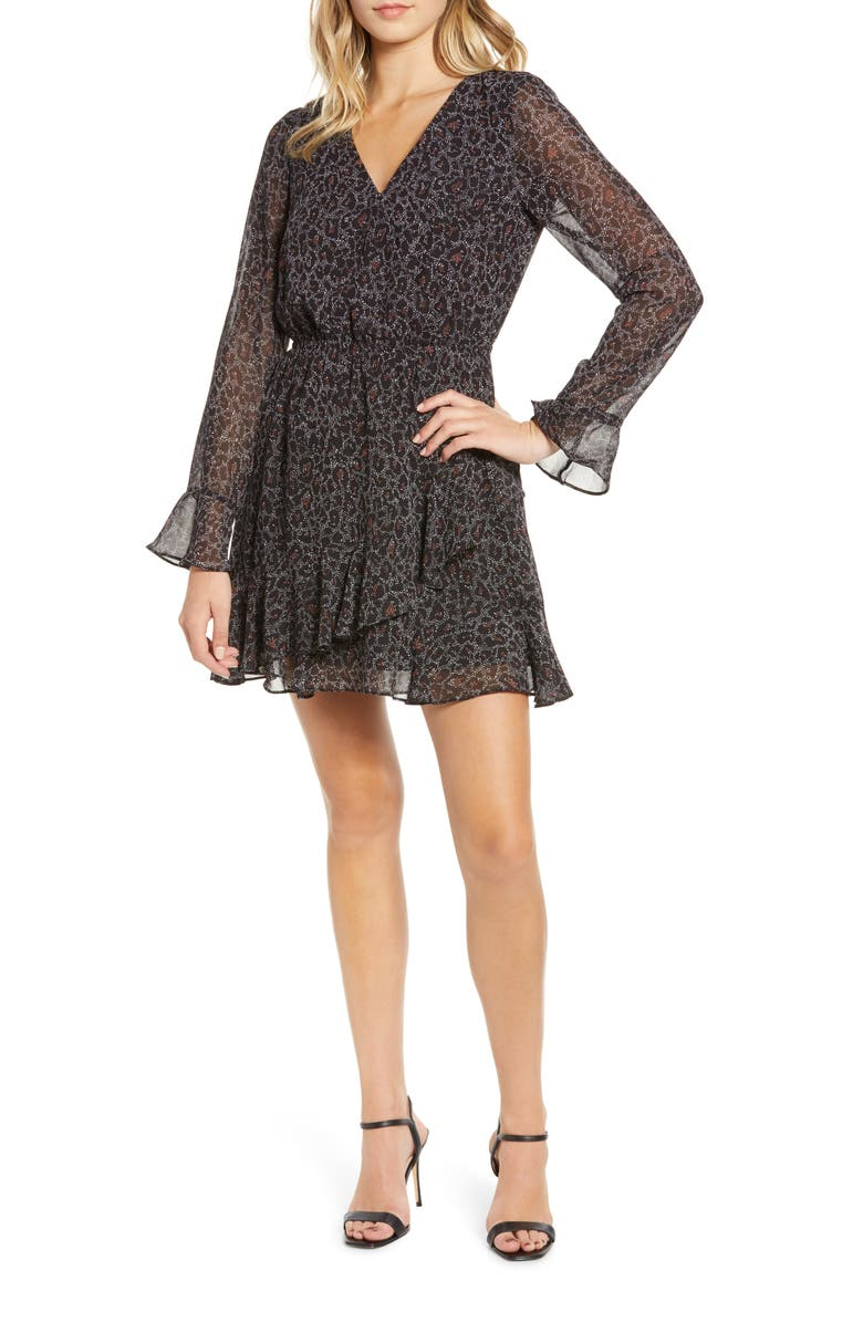 CUPCAKES AND CASHMERE Amity Speckled Leopard Print Dress, Main, color, BLACK