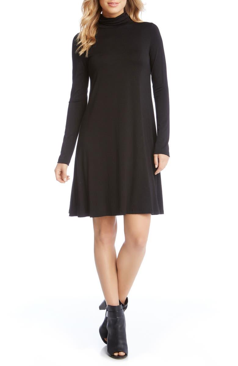 KAREN KANE Turtleneck A-Line Dress, Main, color, 001