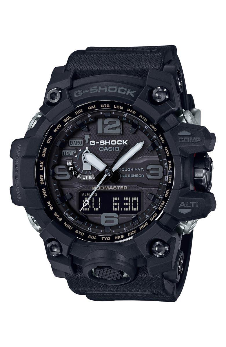 G-SHOCK BABY-G G-Shock Mudmaster Resin Casio Ana-Digi Watch, 56mm, Main, color, BLACK