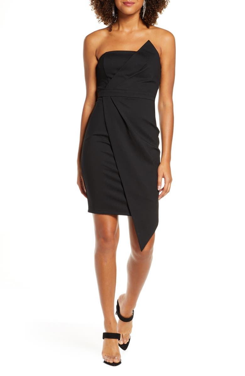 LULUS Queen of the City Strapless Sheath Dress, Main, color, BLACK