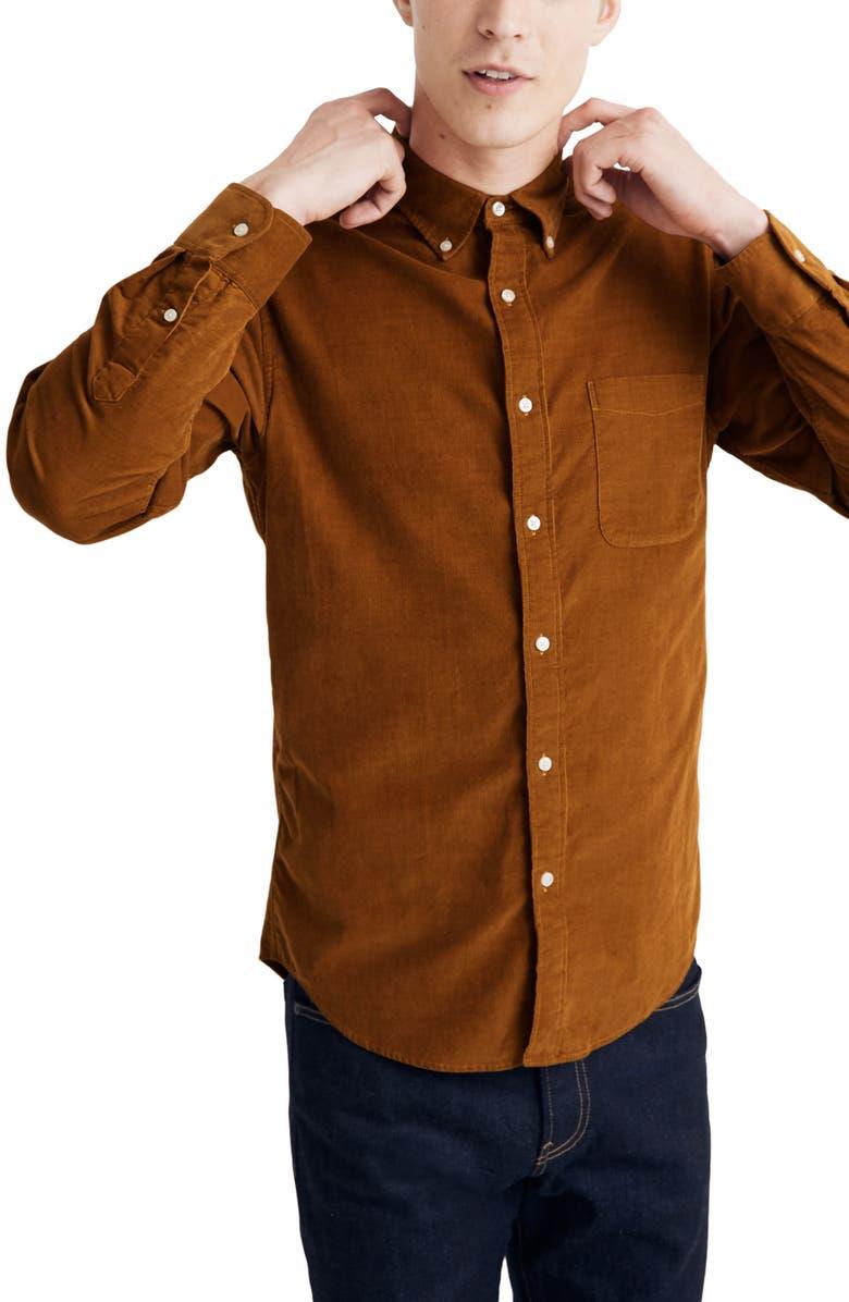 MADEWELL Corduroy Button-Down Shirt, Main, color, EGYPTIAN GOLD