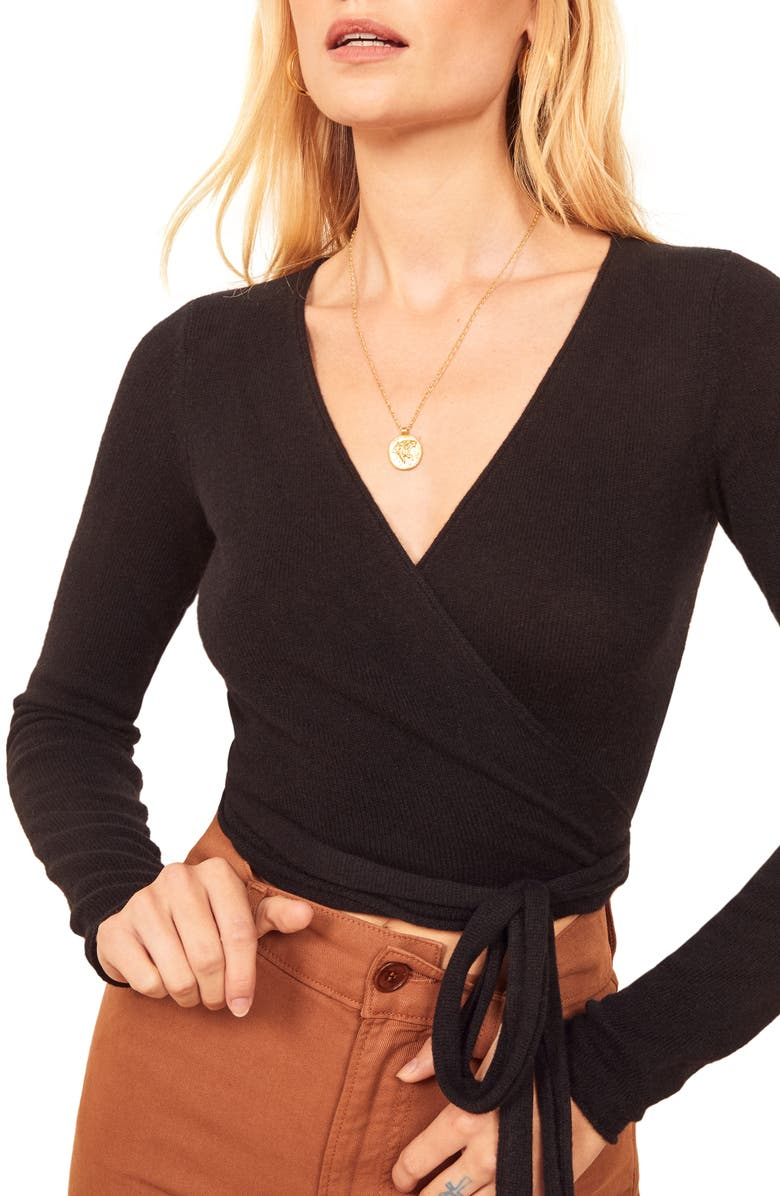 REFORMATION Cashmere Blend Wrap Sweater, Main, color, 001