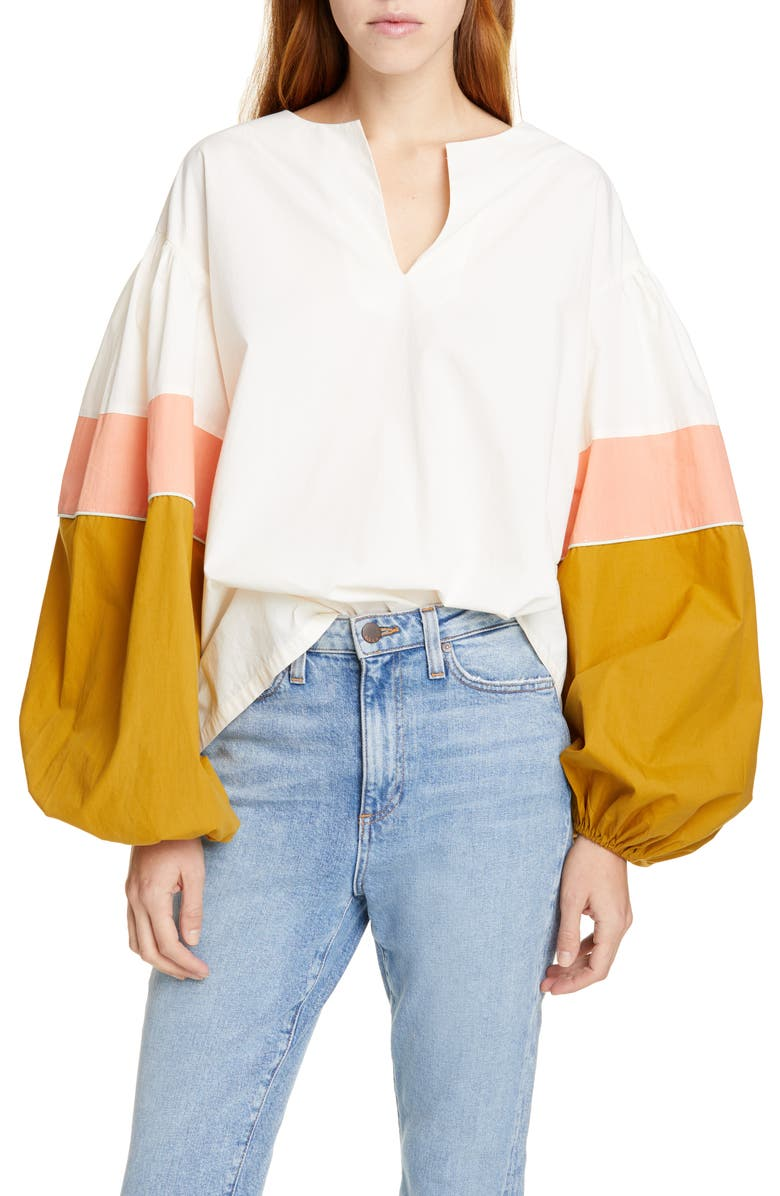 MES DEMOISELLES Priam Colorblock Balloon Sleeve Cotton Top, Main, color, 900
