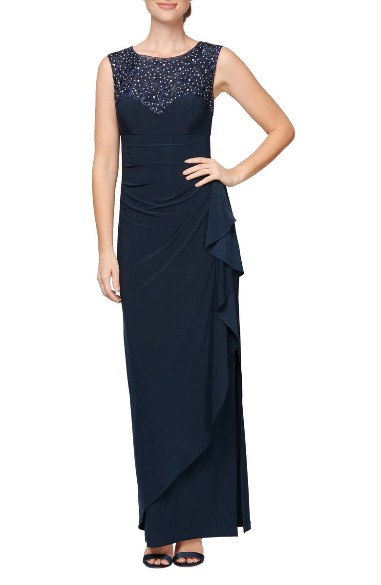 ALEX EVENINGS Embroidered Side Ruched Gown, Main, color, NAVY