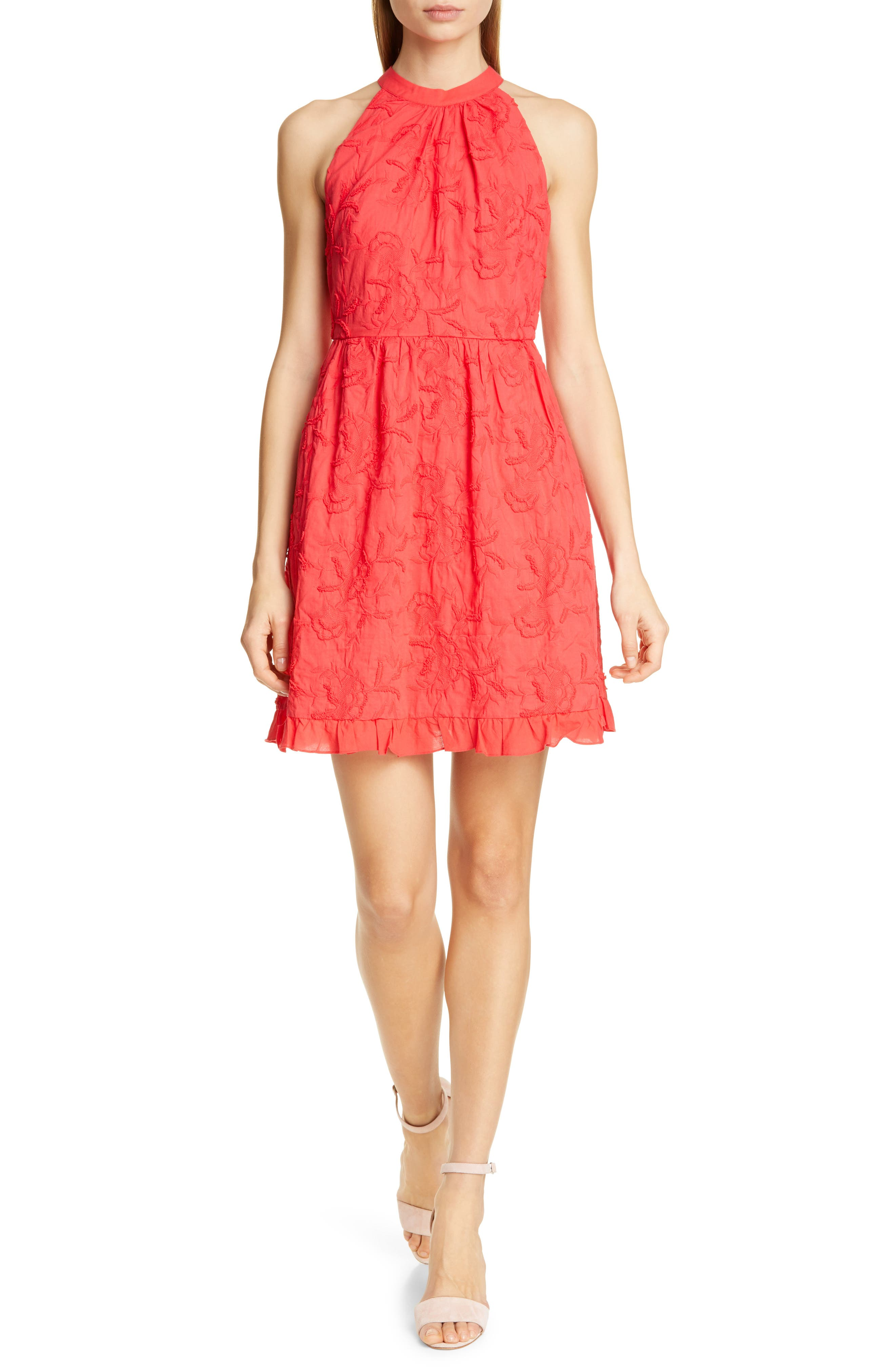 Ted Baker London Lorene Embroidered Skater Dress, Red