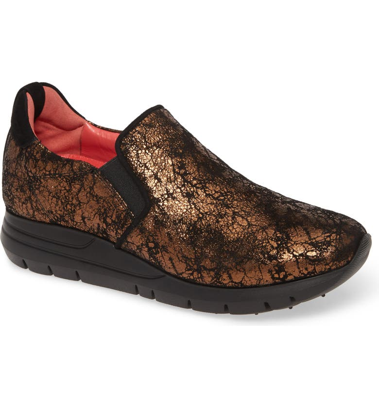 PAS DE ROUGE Dixie Metallic Slip-On Sneaker, Main, color, BRONZE PRINTED SUEDE