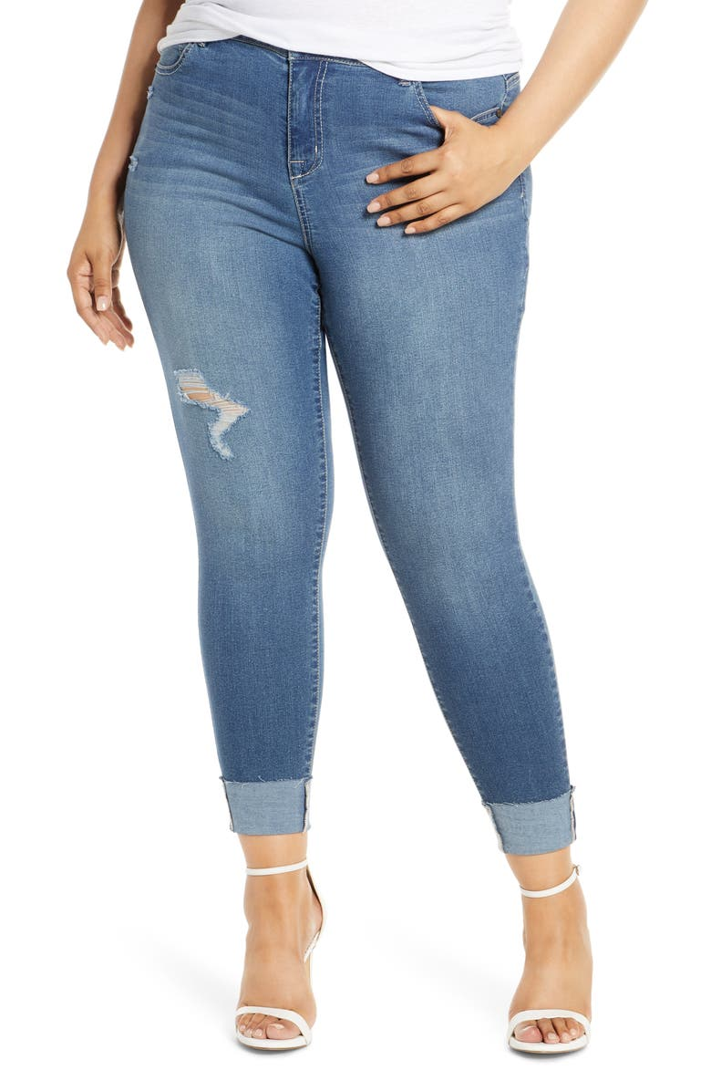 1822 DENIM Distressed Roll Ankle Jeggings, Main, color, JADE