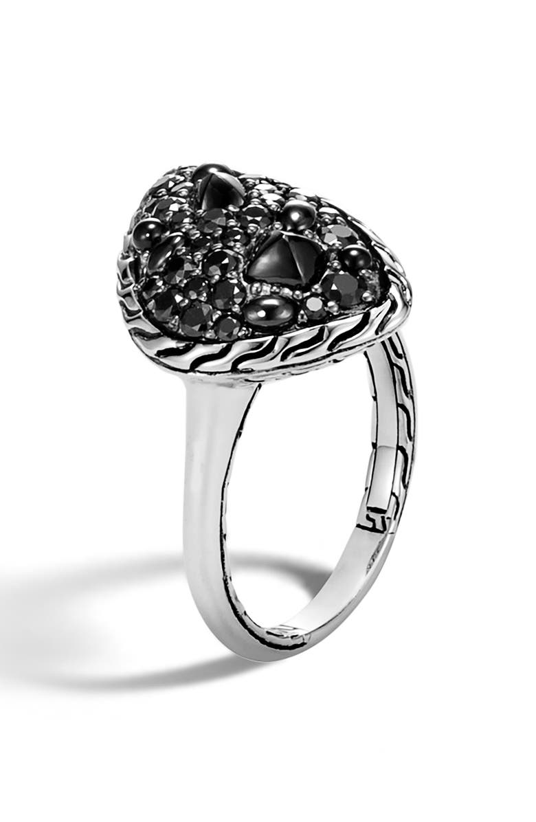 JOHN HARDY Classic Chain Small Stone Ring, Main, color, SILVER/ BLACK SAPPHIRE