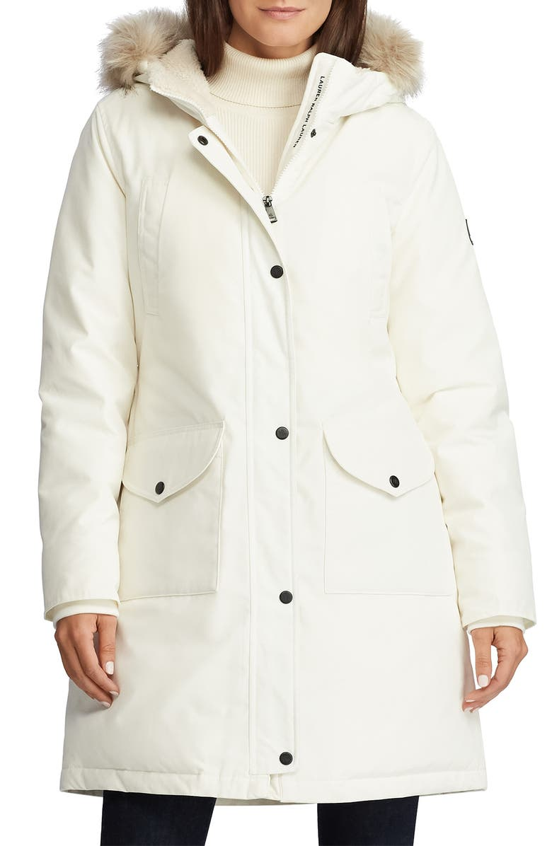 LAUREN RALPH LAUREN Expedition Down & Feather Fill Hooded Parka, Main, color, WHITE