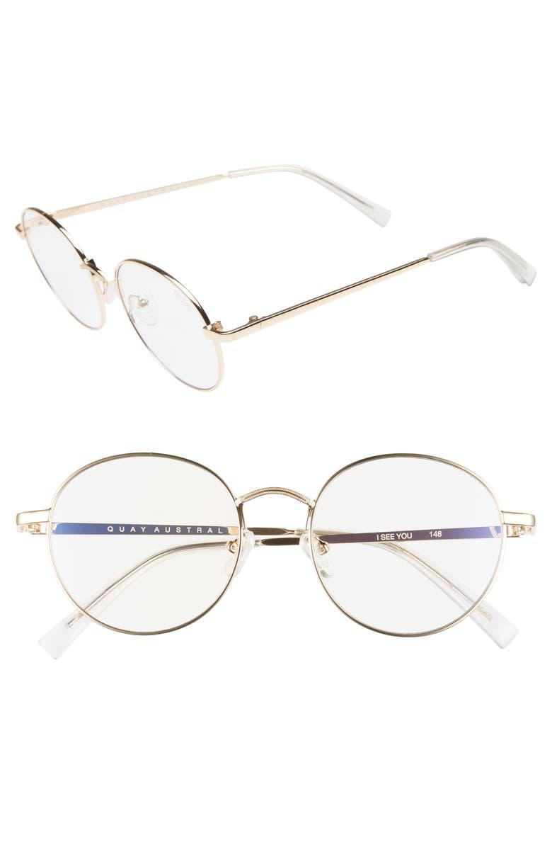 QUAY AUSTRALIA I See You 49mm Round Fashion Glasses, Main, color, 710