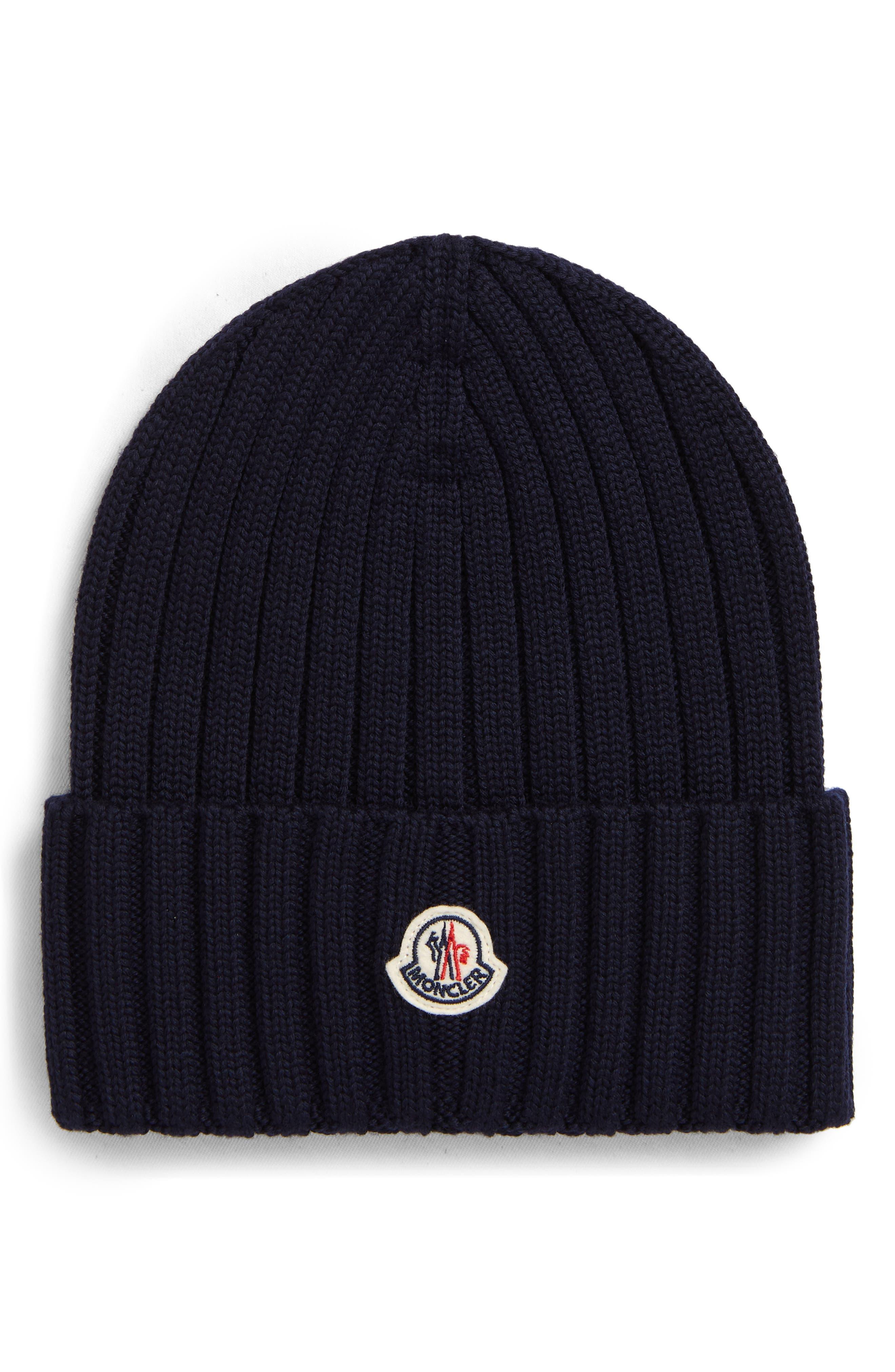 Women's Moncler Logo Rib Virgin Wool Beanie - Black