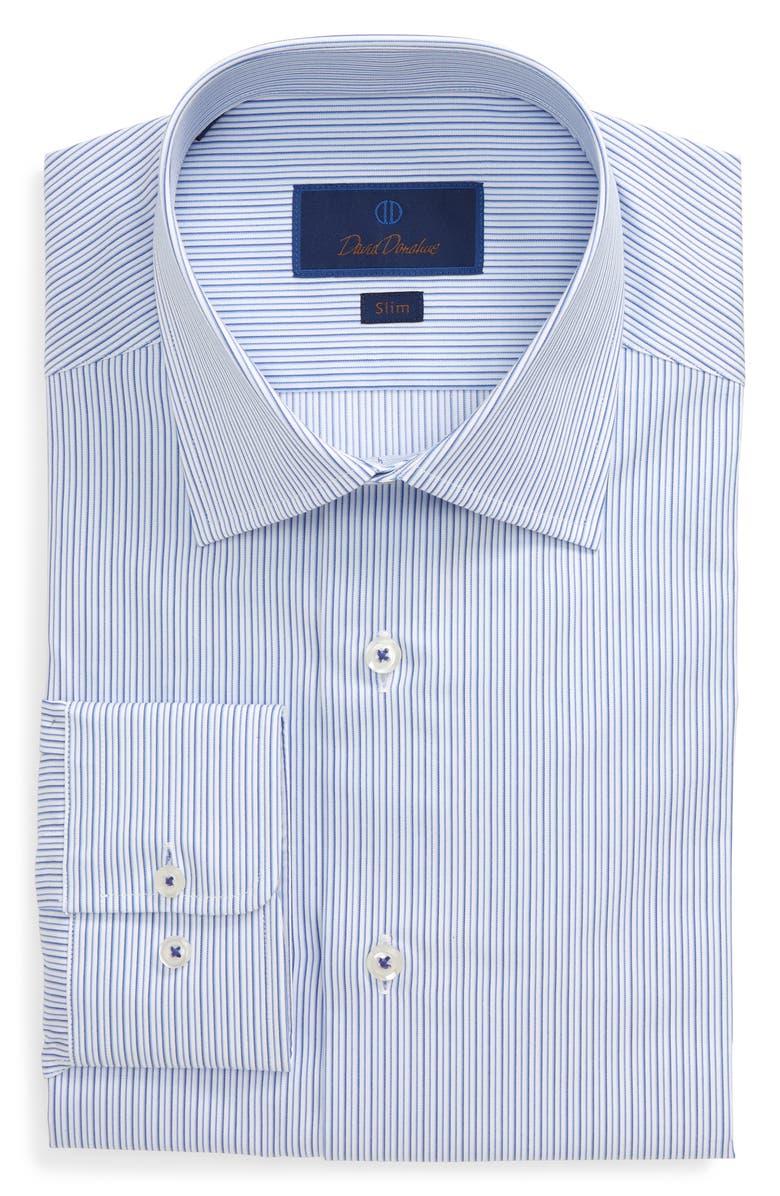 DAVID DONAHUE Slim Fit Stripe Dress Shirt, Main, color, 423