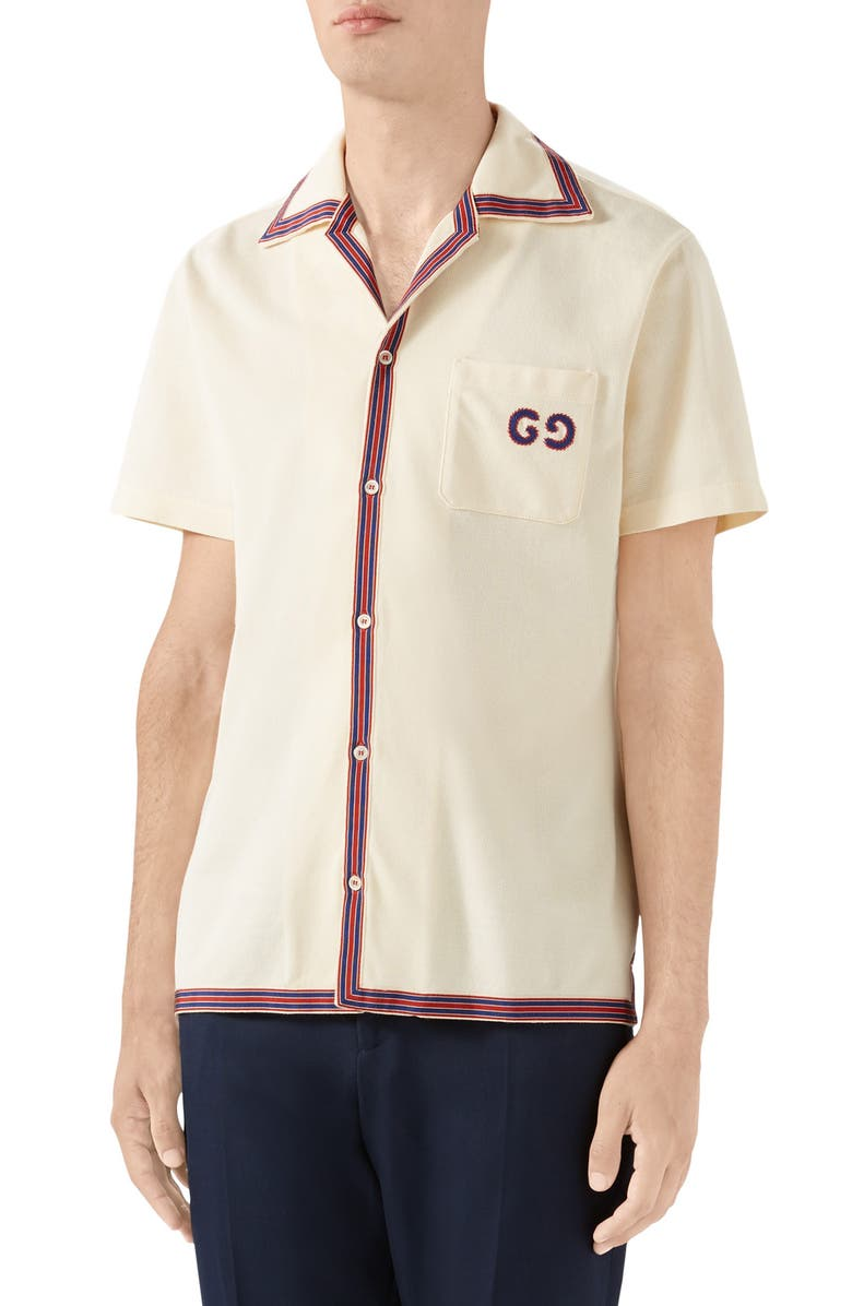 GUCCI GG Embroidery Bowling Shirt, Main, color, IVORY