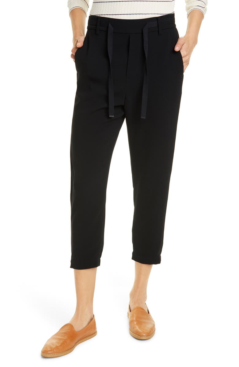 VINCE Easy Pull-On Crop Pants, Main, color, BLACK
