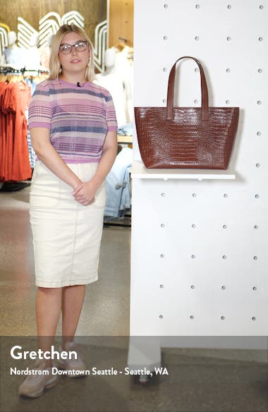 Celia Croc Embossed Leather Tote, sales video thumbnail