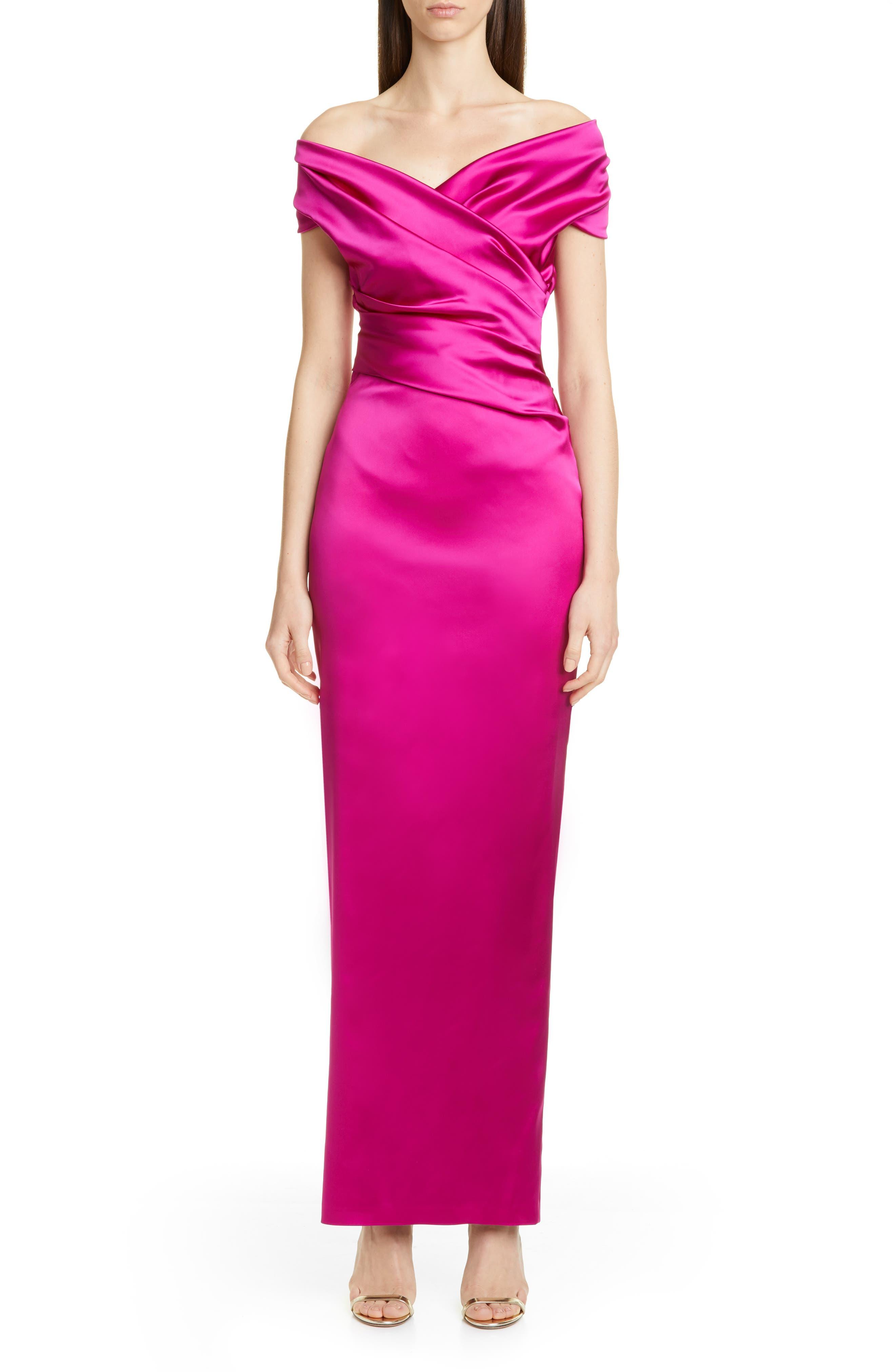 Talbot Runhoff Stretch Duchesse Satin Gown, Pink