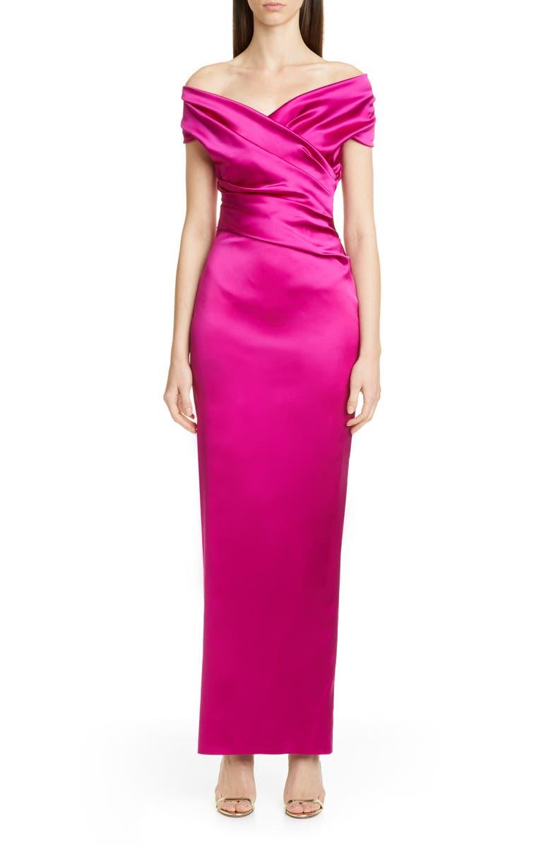 TALBOT RUNHOF f Stretch Duchesse Satin Gown, Main, color, RAZZMATAZZ PINK