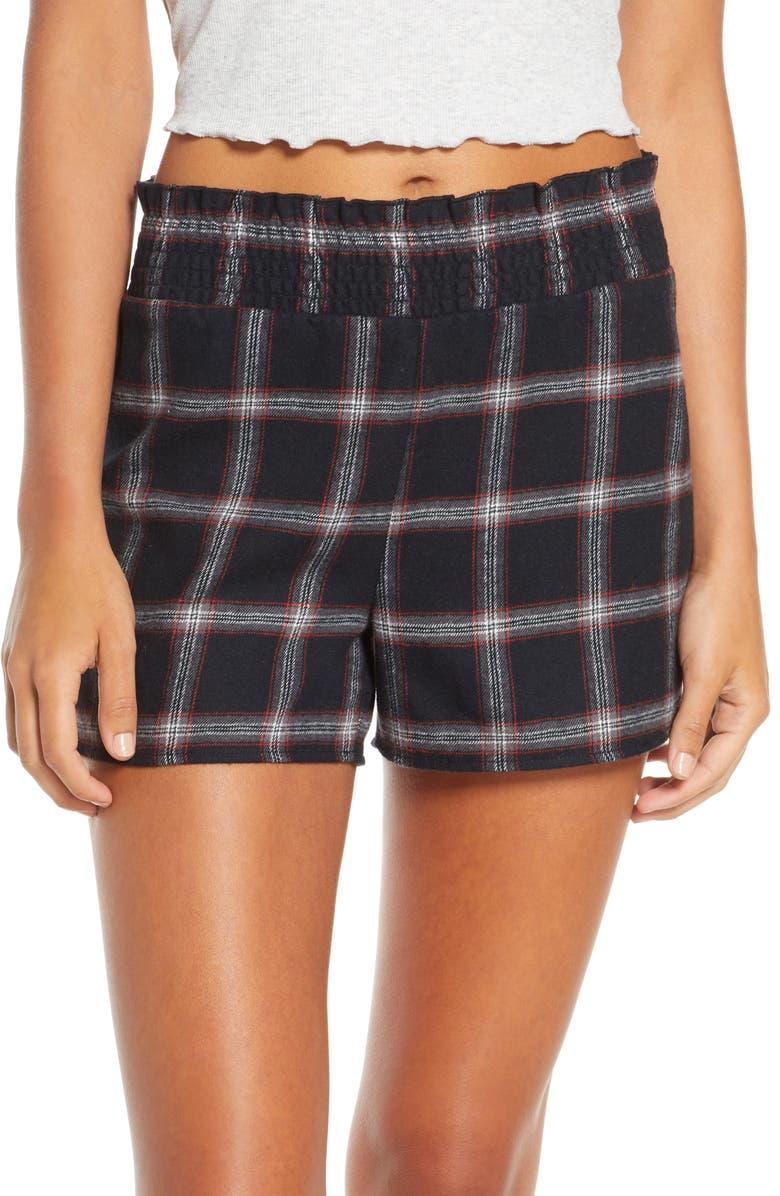 BP. x Claudia Sulewski Classic Flannel Pajama Shorts, Main, color, 001