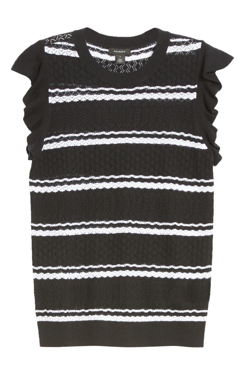 HALOGEN<SUP>®</SUP> Stripe Flutter Sleeve Pointelle Pullover, Main, color, BLACK- WHITE STRIPE
