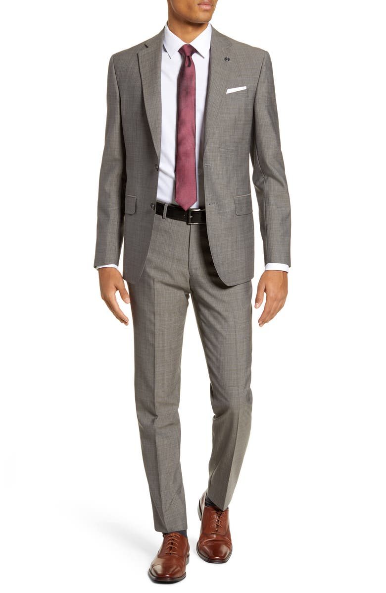 TED BAKER LONDON Jay Trim Fit Solid Wool Suit, Main, color, TAUPE
