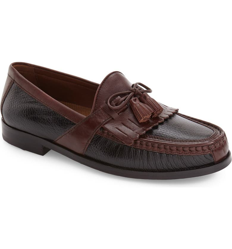 JOHNSTON & MURPHY 'Aragon II' Loafer, Main, color, BLACK/ BROWN LEATHER