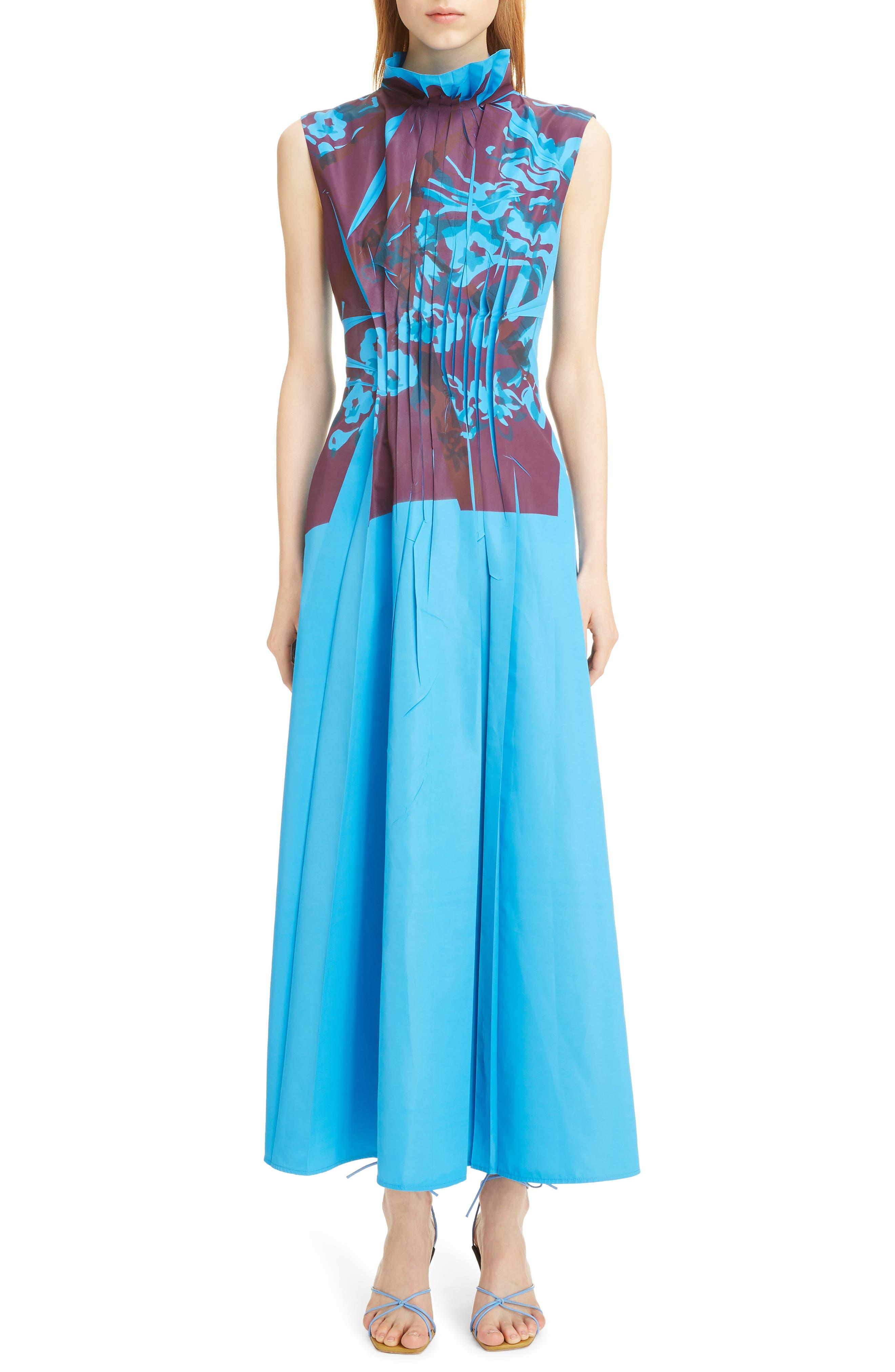 Roksanda Dresses Floral Print Ruffle Collar Pleated Dress