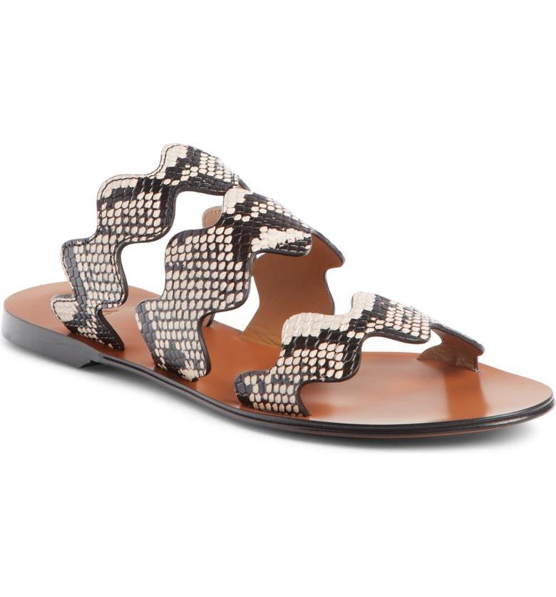 CHLOÉ Lauren Scalloped Slide Sandal, Main, color, ETERNAL GREY LEATHER