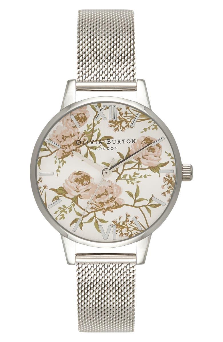 OLIVIA BURTON Parlour Mesh Strap Watch, 30mm, Main, color, SILVER/ FLORAL/ SILVER