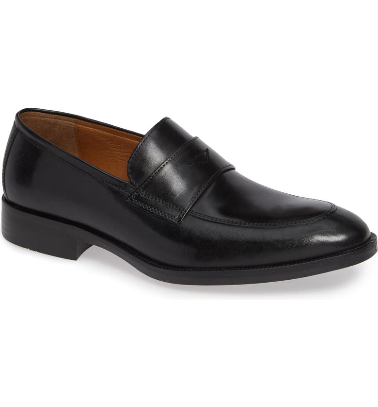 JOHNSTON & MURPHY Alcott Penny Loafer, Main, color, BLACK LEATHER