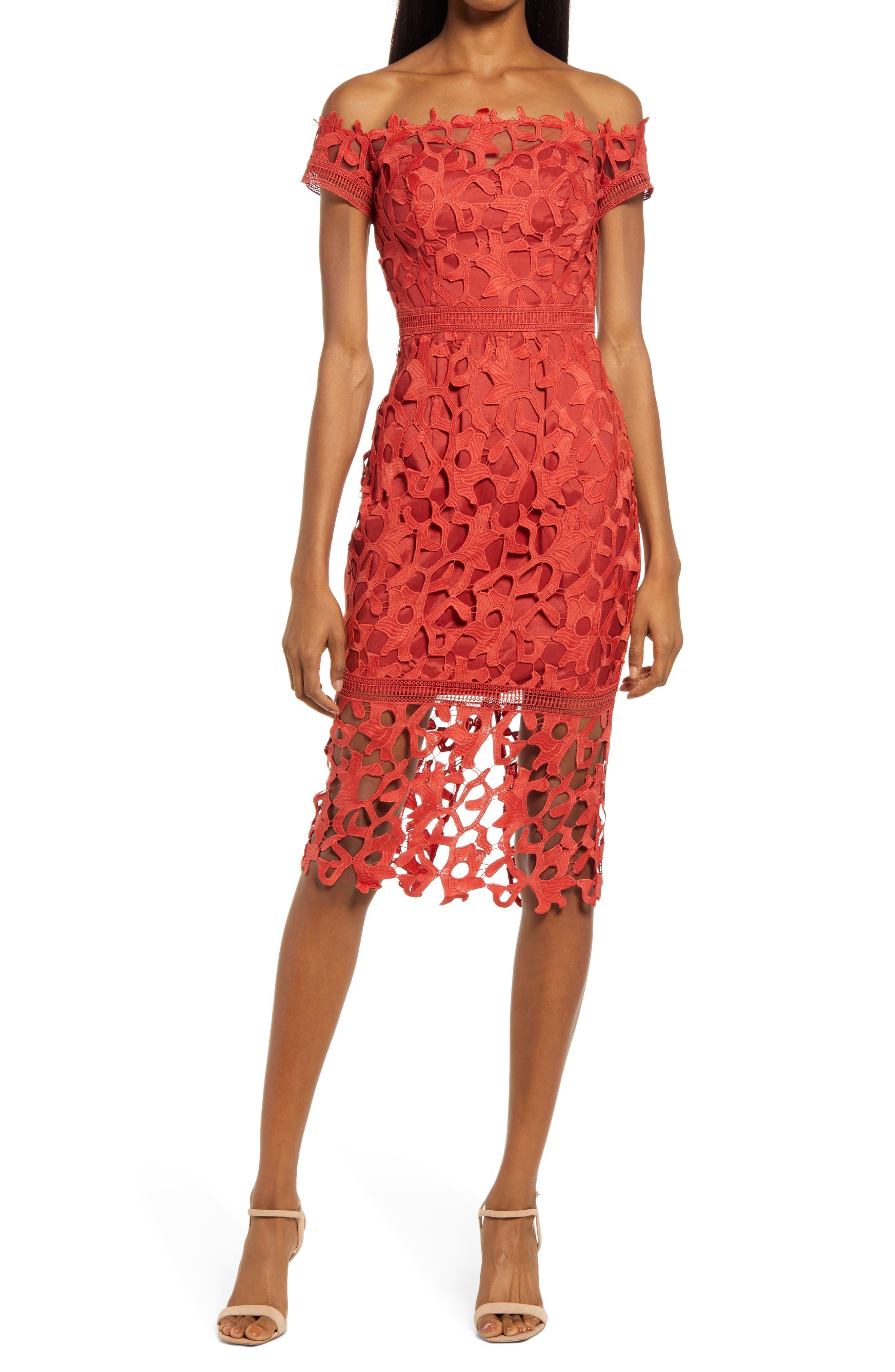 Off The Shoulder Crochet Lace Body-Con Dress