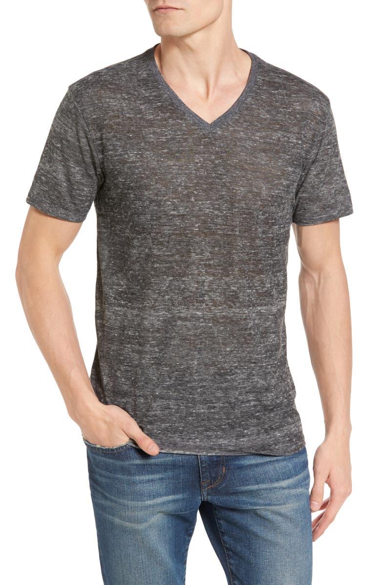 THE RAIL Burnout V-Neck T-Shirt, Main, color, GREY HEATHER BURNOUT