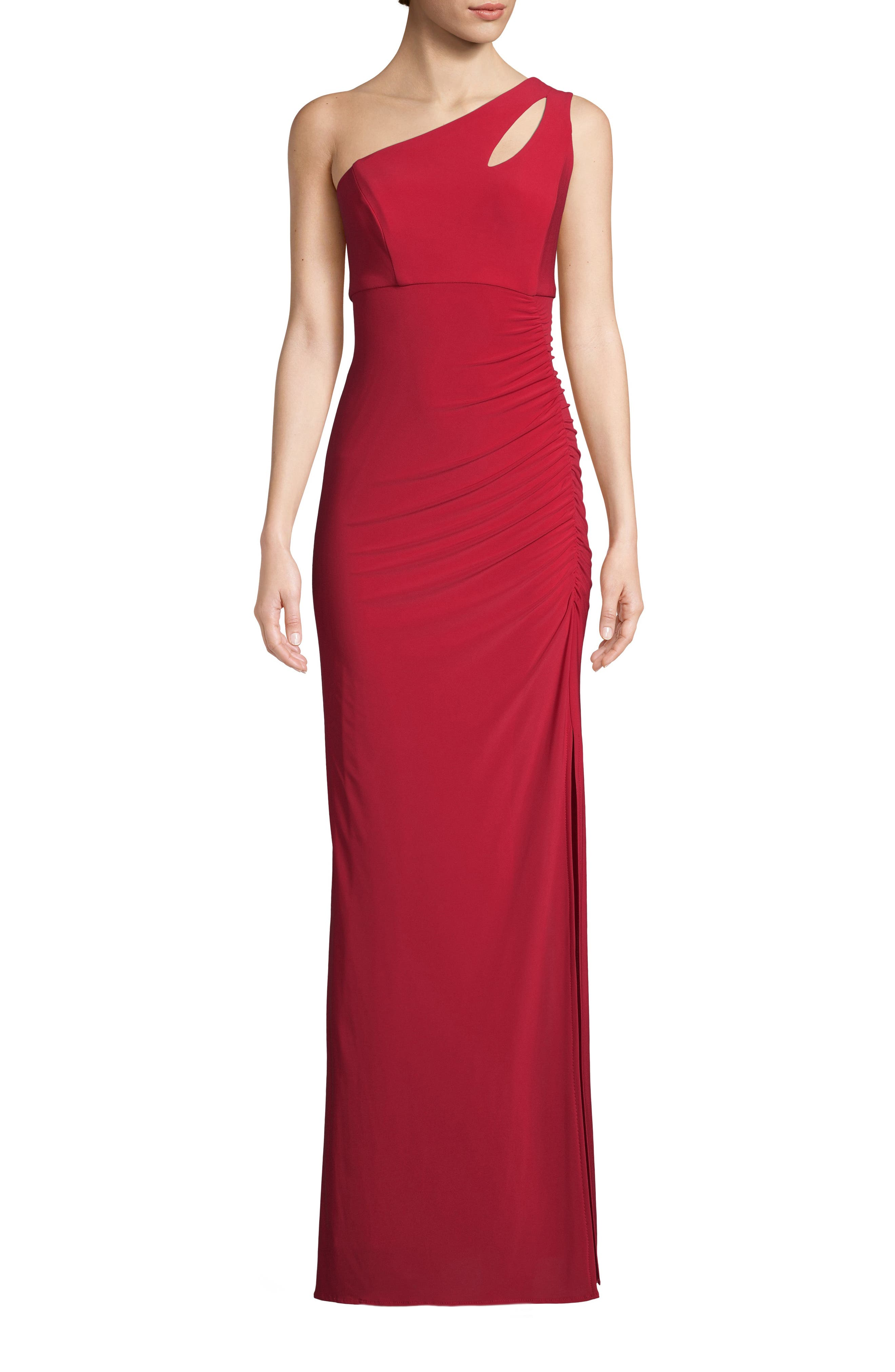 Xscape Keyhole One-Shoulder Evening Dress, Red