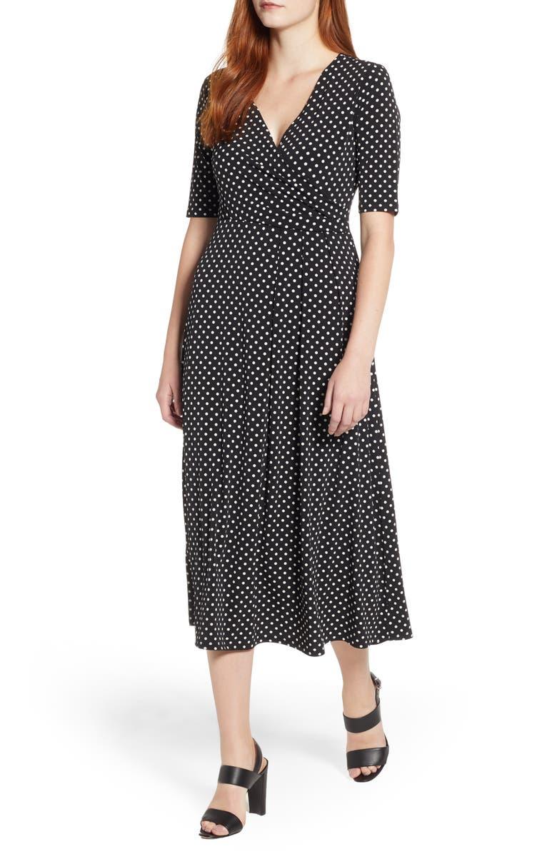CHAUS Garden Dot Midi Dress, Main, color, 006