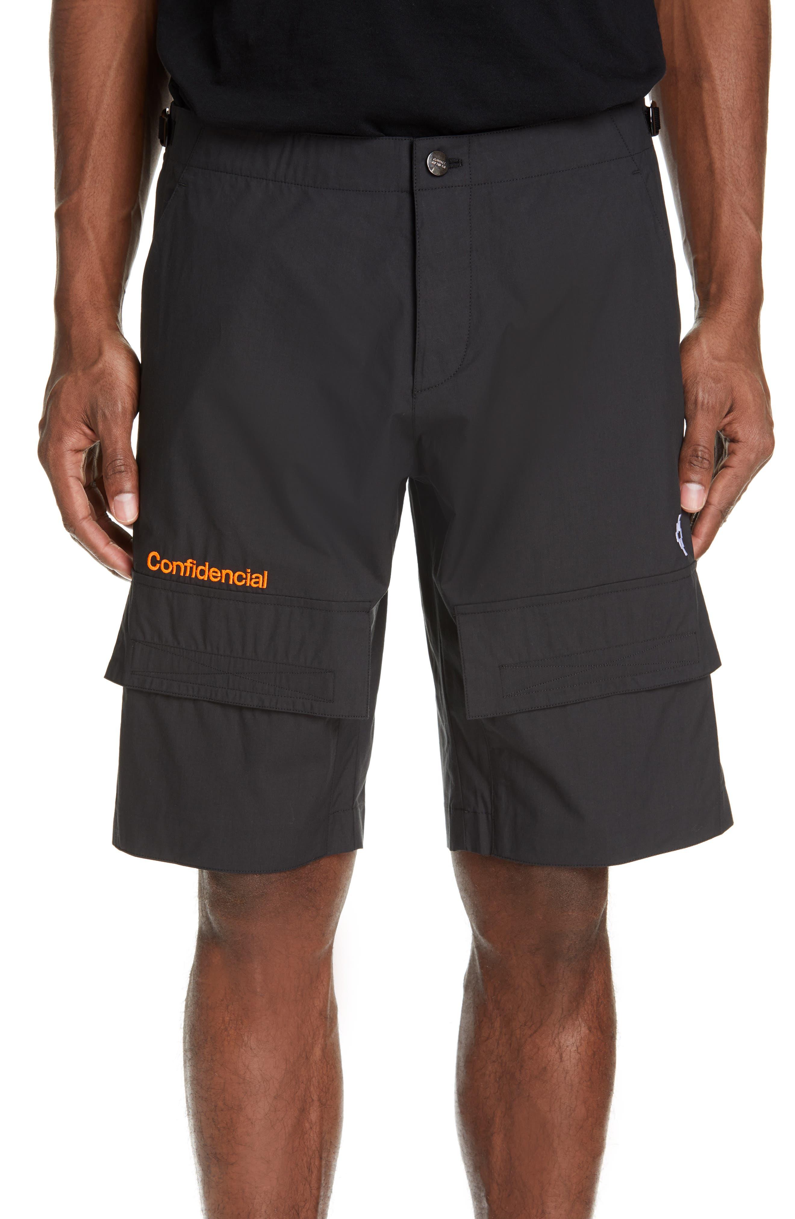 Marcelo Burlon Confidencial Embroidered Cargo Shorts, Black