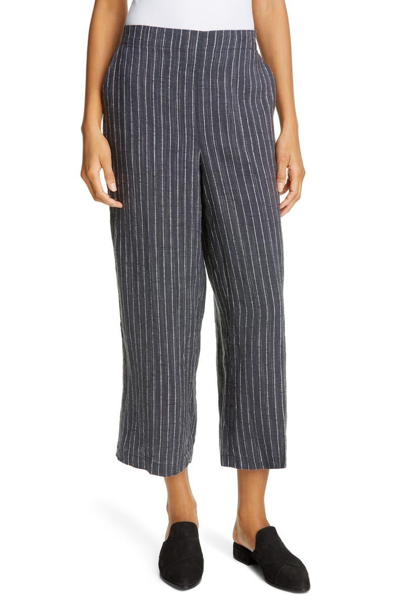 petite Stripe Linen Crop Pants