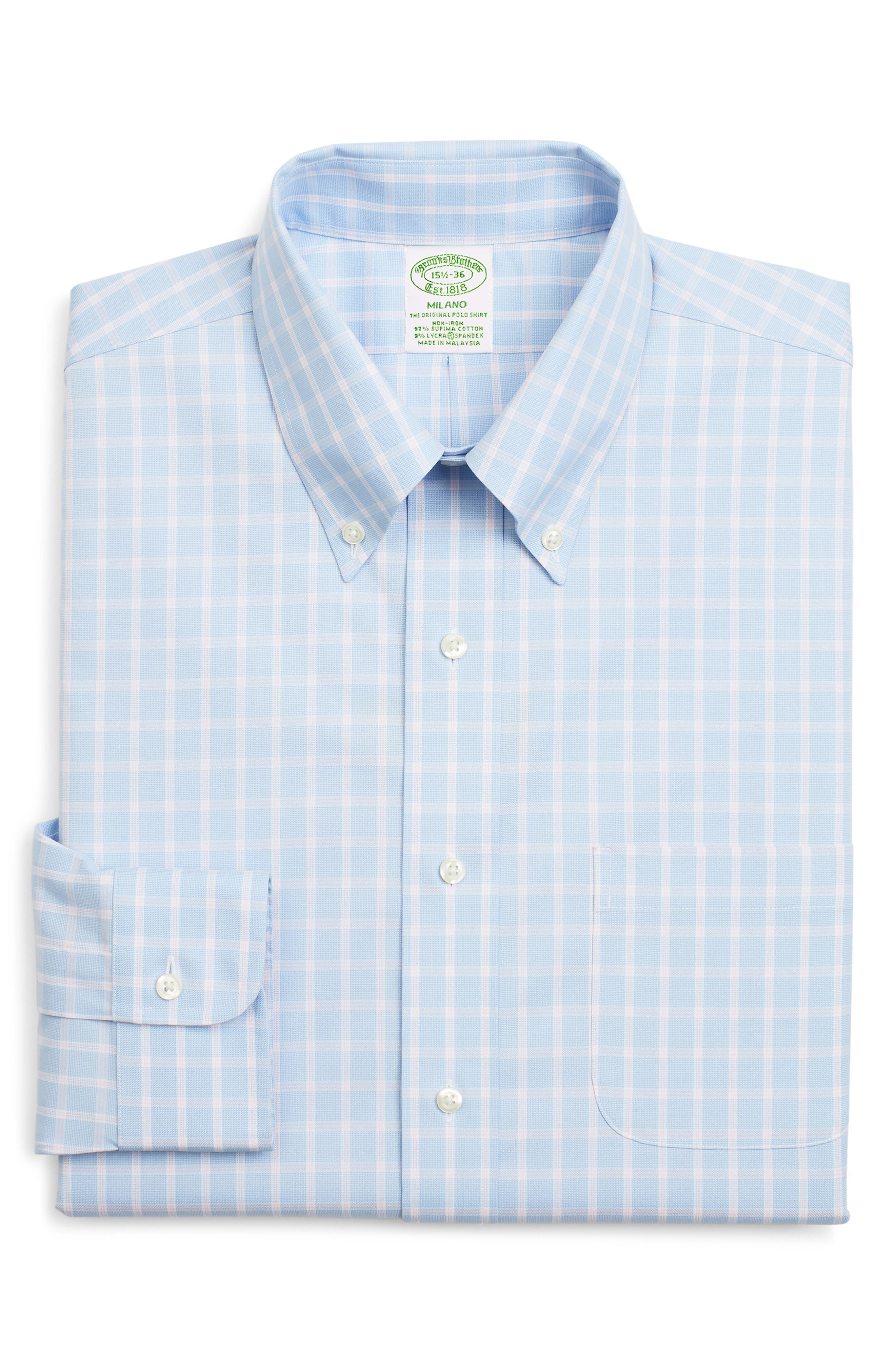 Brooks Brothers Milano Slim Fit Stretch Check Dress Shirt