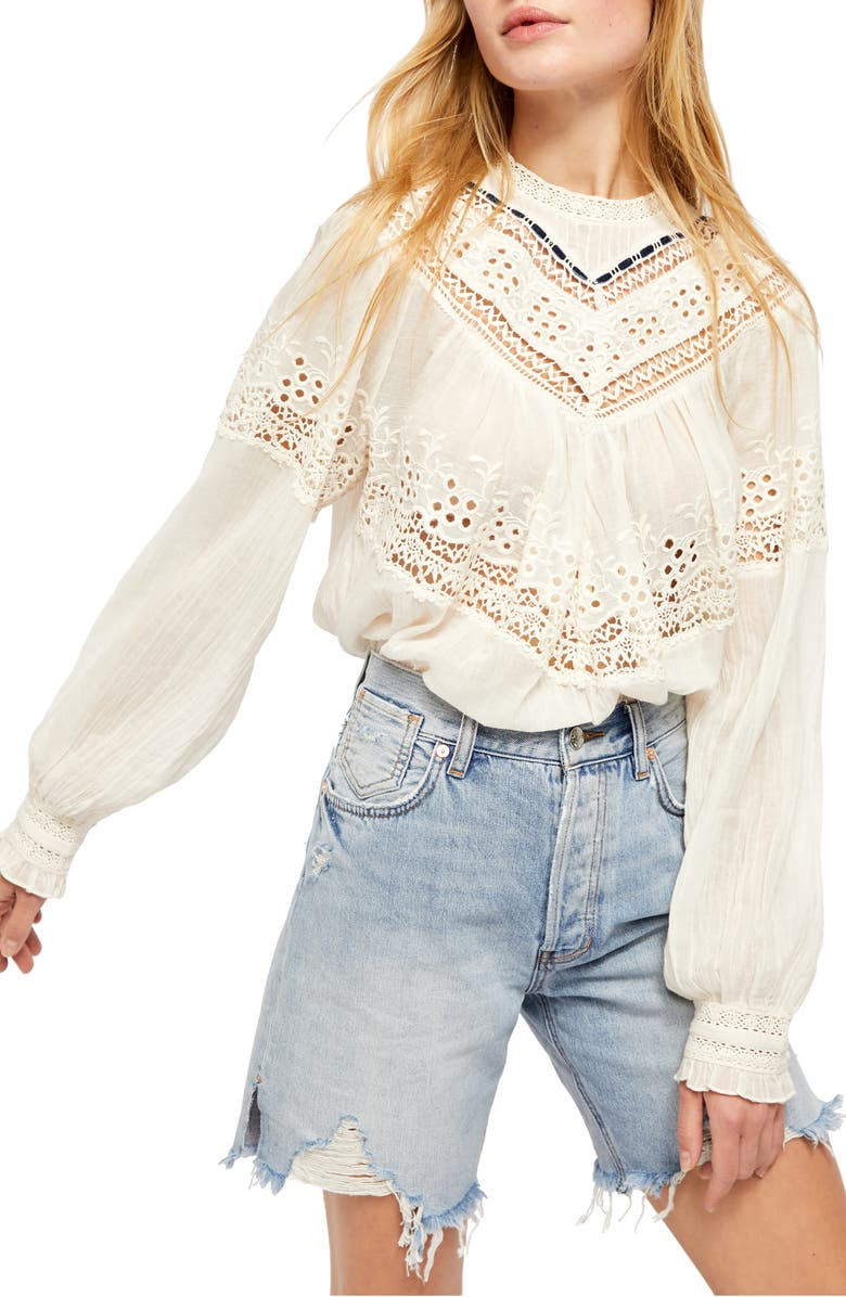FREE PEOPLE Abigail Victorian Top, Main, color, IVORY