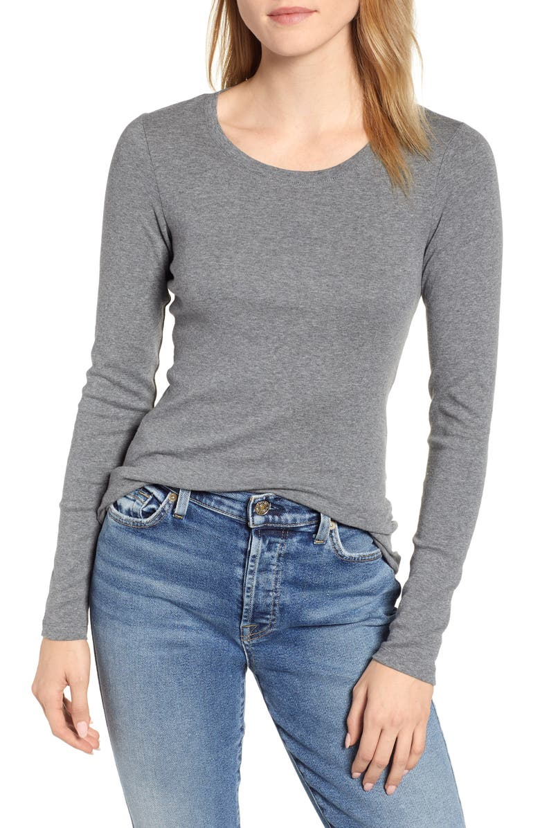 CASLON<SUP>®</SUP> Long Sleeve Scoop Neck Cotton Tee, Main, color, NO_COLOR