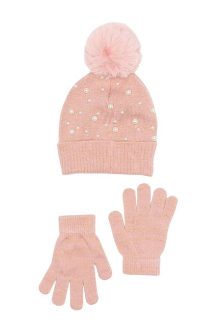 Image of Curls & Pearls Pearl Beanie & Gloves Set
