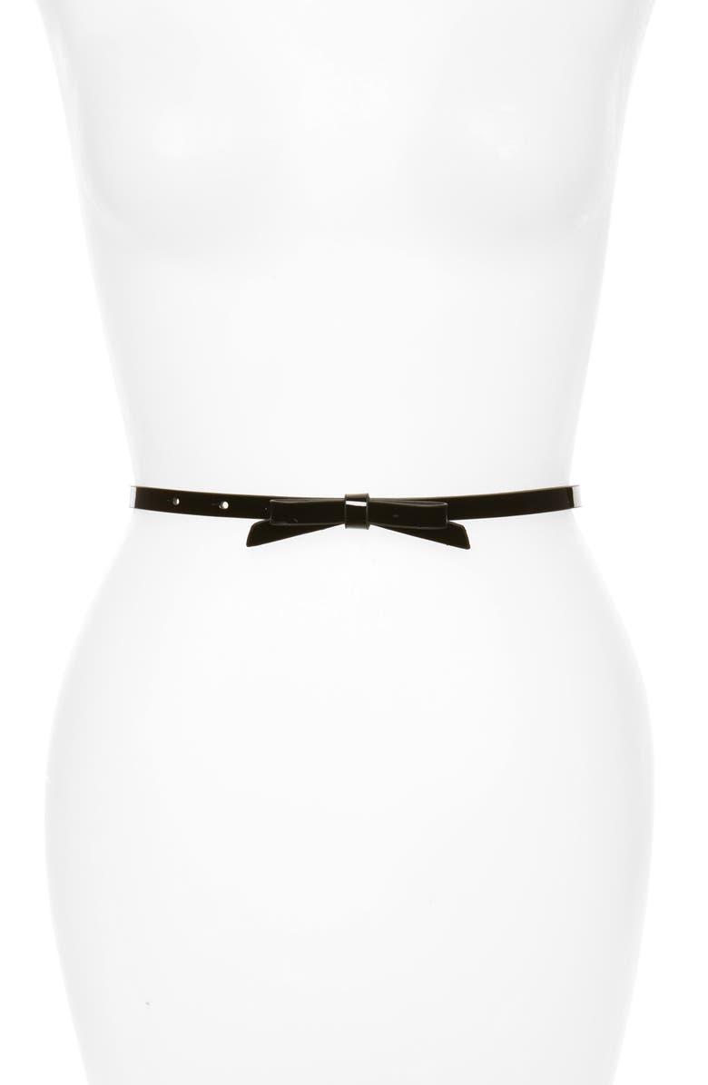HALOGEN<SUP>®</SUP> Halogen Patent Bow Belt, Main, color, BLACK
