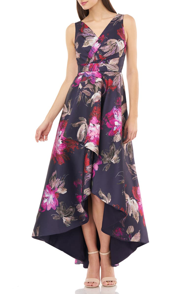 CARMEN MARC VALVO INFUSION Faux Wrap Front Sleeveless High/Low Gown, Main, color, 505