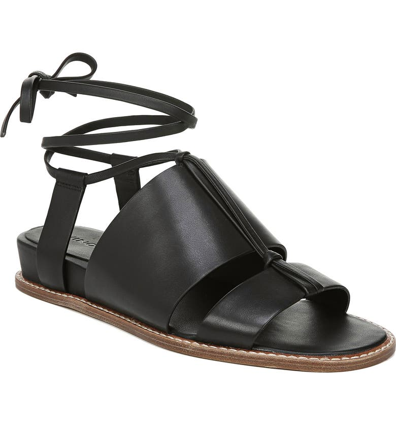VINCE Forster Strappy Ankle Wrap Sandal, Main, color, BLACK LEATHER